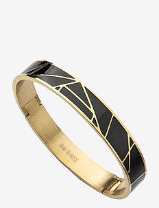 Rose Enamel Bracelet Black/Gold - bangles - gold