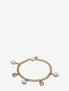 Pearl Charm Bracelet Steel - dainty - gold
