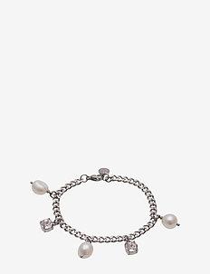 Pearl Charm Bracelet Steel - dainty - silver