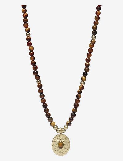 Serenity Stone Necklace - halskæder med vedhæng - brown/gold