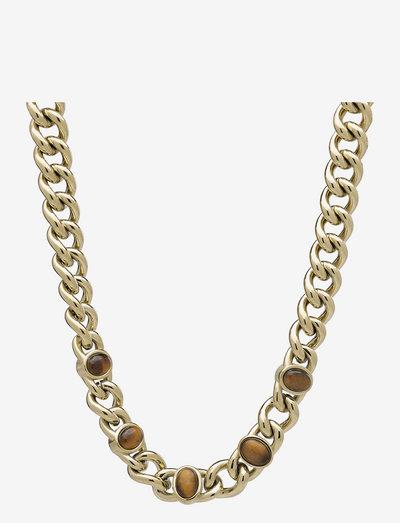 Retro Short Necklace - halskæder - brown/gold