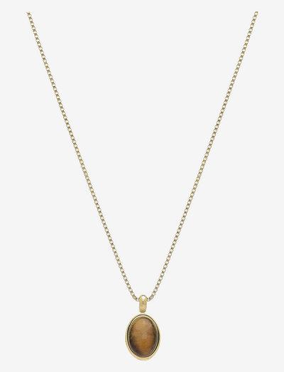 Retro Slider Necklace - halskæder med vedhæng - brown/gold