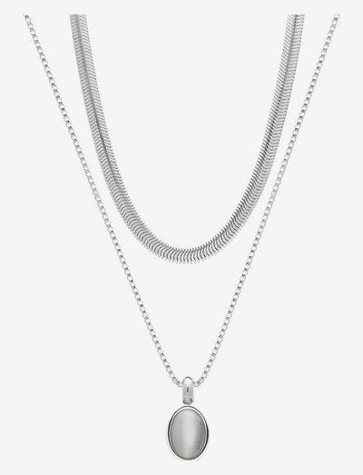 Retro Duo Necklace - halskæder med vedhæng - grey/silver