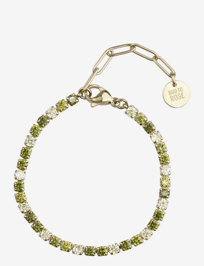 Ice Tennis Bracelet - dainty - green/gold