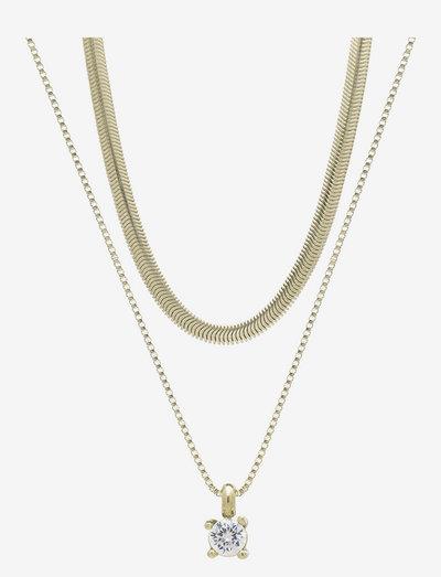Ice Snake Duo Necklace - halskæder med vedhæng - clear/gold