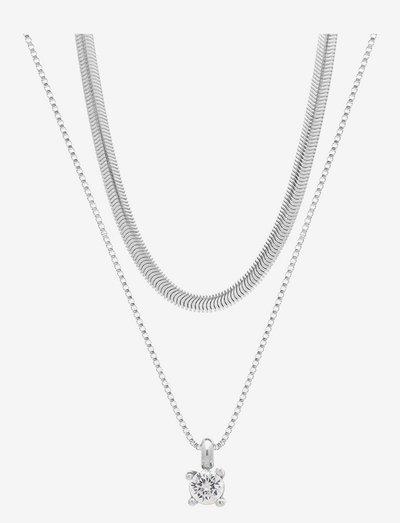 Ice Snake Duo Necklace - halskæder med vedhæng - clear/silver