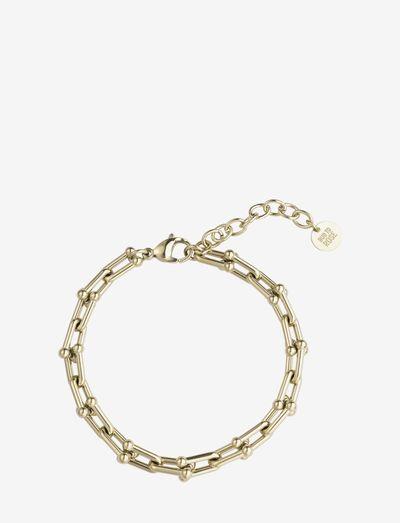 Bead U-Link Bracelet - dainty - gold