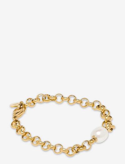 Pearl Rolochain Bracelet - dainty - gold