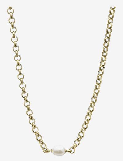 Pearl Rolochain Short Necklace - halskæder med vedhæng - gold