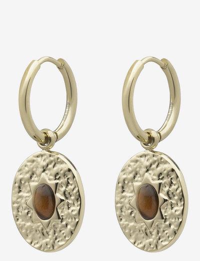 Serenity Hoop - vedhæng øreringe - brown/gold