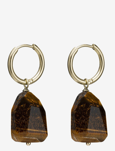 Spirit Hoop - vedhæng øreringe - brown/gold
