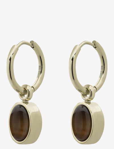 Retro Hoop - vedhæng øreringe - brown/gold