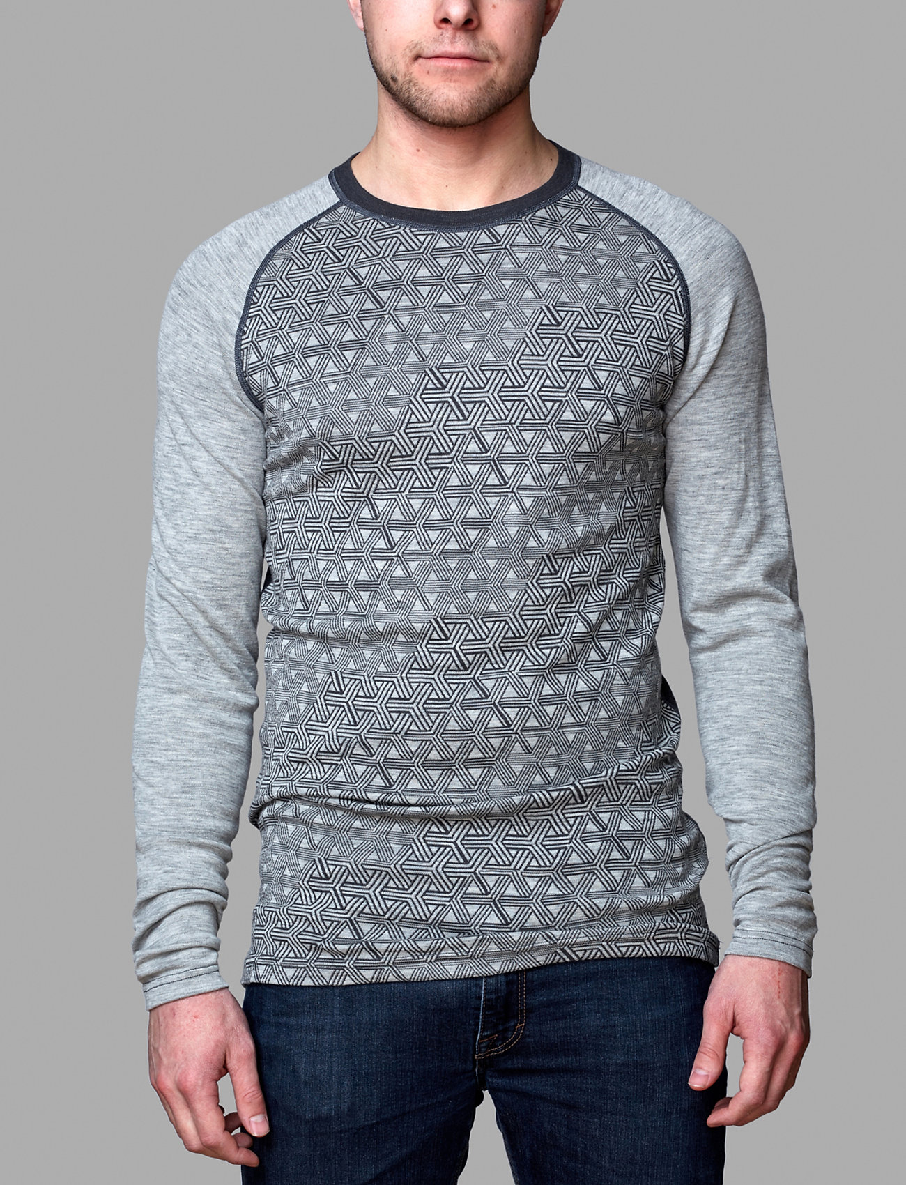 Bula - GEO MERINO WOOL CREW - base layer tops - greym - 0