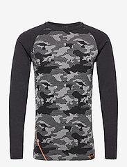 Bula - Camo Merino Wool Front Crew - thermo ondershirts - dgrey - 0