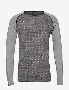 GEO MERINO WOOL CREW - base layer tops - greym