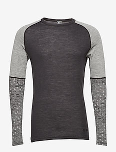 GEO MERINO WOOL SLEEVECREW - base layer tops - greym