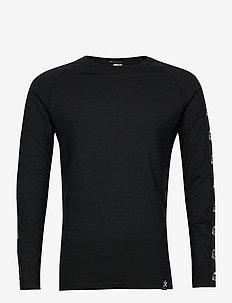 Tape Merino Wool Crew - base layer tops - black