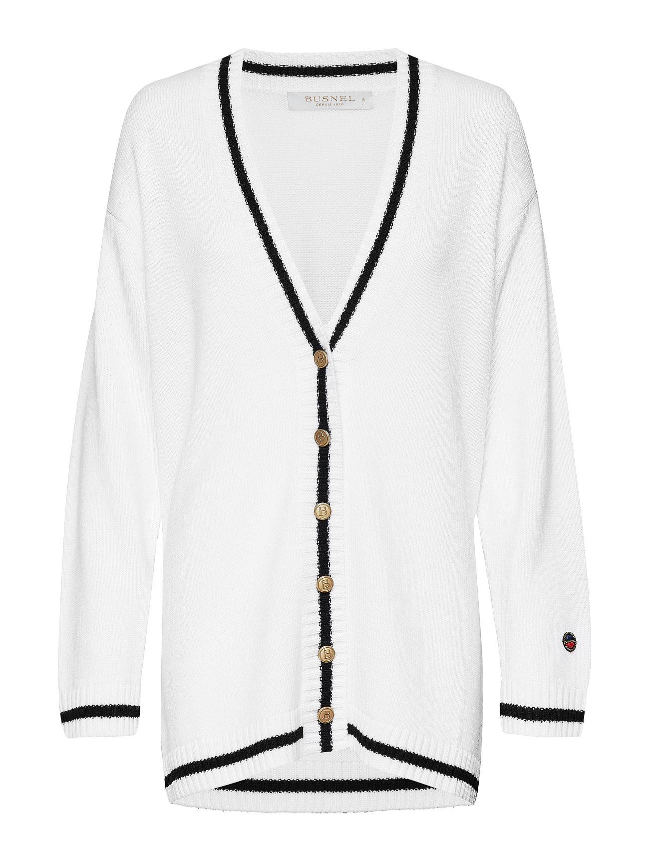 BUSNEL Parmentier cardigan - FOAM WHITE WITH BLACK LINE