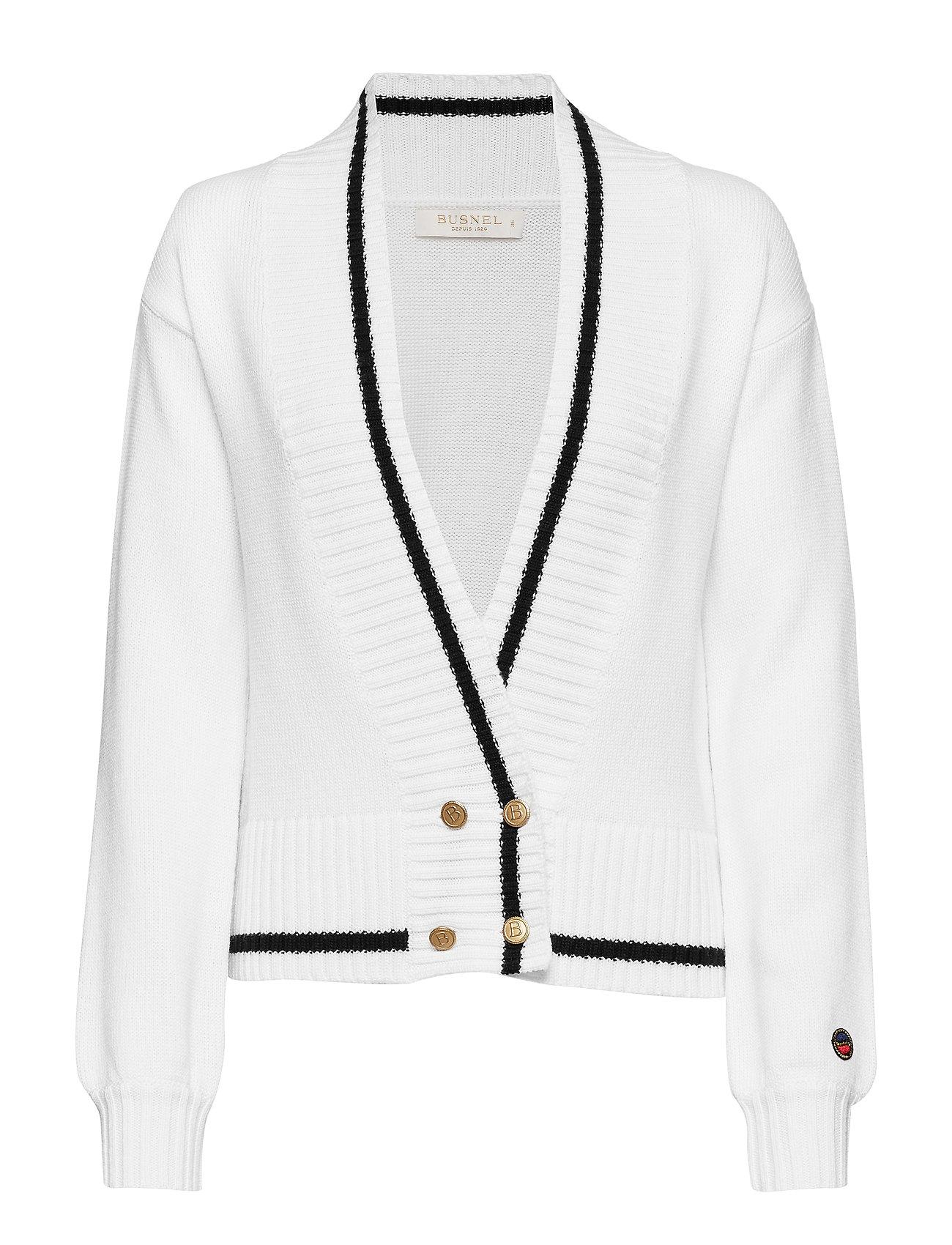 BUSNEL Pasteur cardigan - FOAM WHITE WITH BLACK LINE
