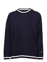 Piera sweater - MARINE WITH FOAM WHITE LINE
