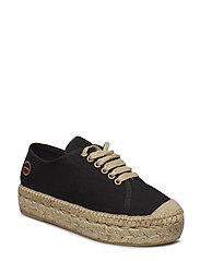 Branco lace up espadrilles shoes - BLACK