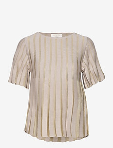 Cattie top - short-sleeved blouses - sand