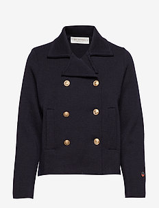 Indra jacket - wełniane kurtki - marine