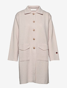 Essy coat - wełniane płaszcze - nougat