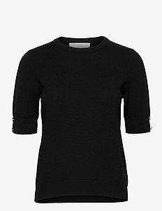 Lucca top - stickade toppar & t-shirts - black