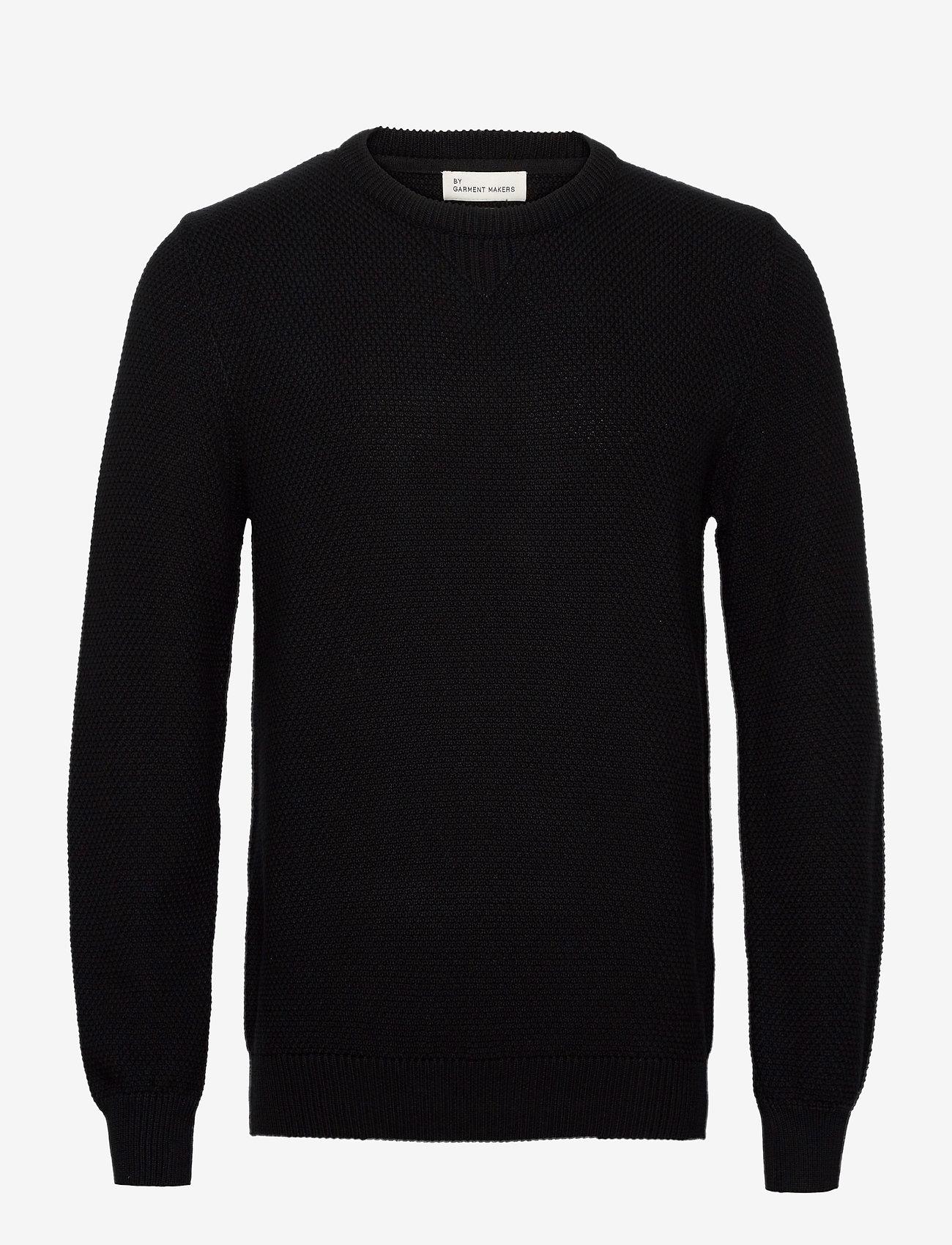 By Garment Makers The Organic Waffle Knit - Strikkevarer JET BLACK - Menn Klær