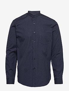 The Organic Printed Mandarin Shirt - casual hemden - 3096 navy blazer