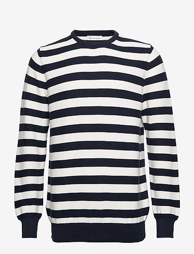 The Organic Striped Knit - knitted round necks - navy blazer