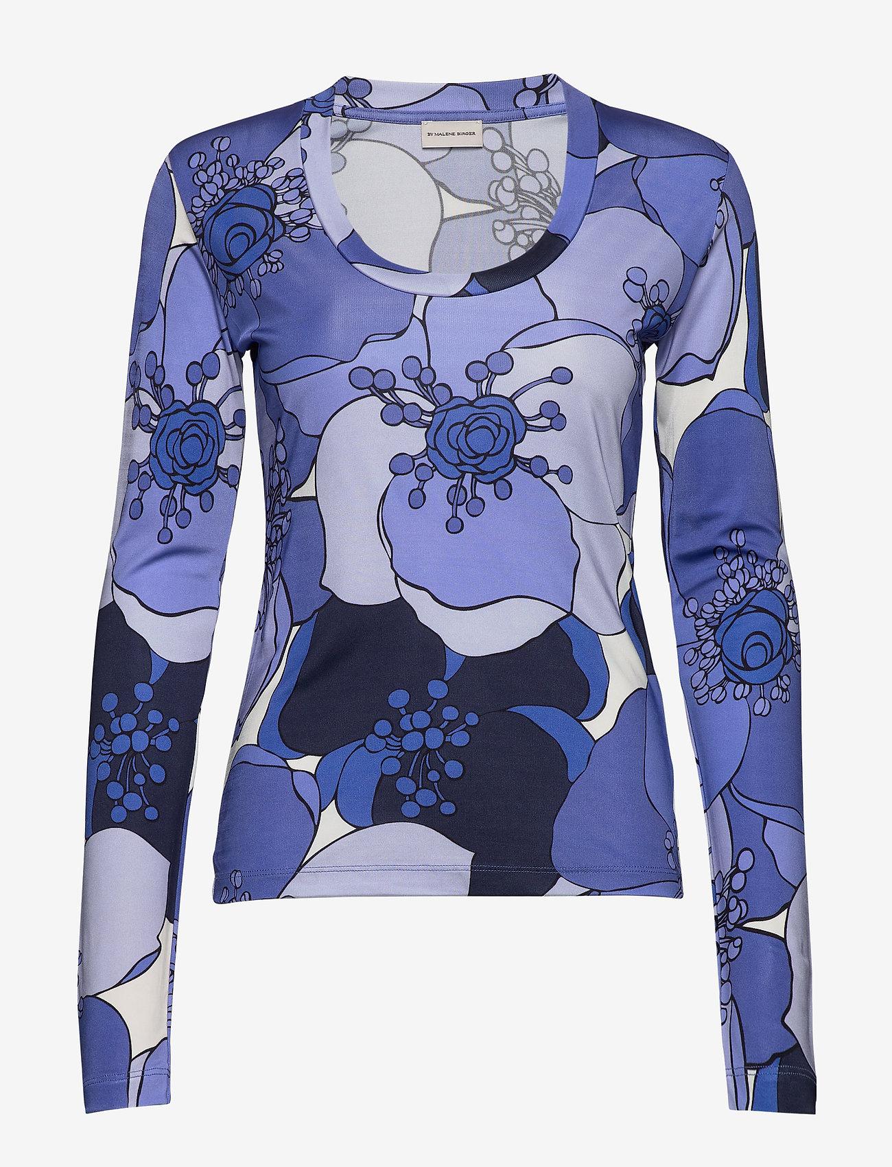 By Malene Birger - RAWIA - langermede topper - pacific blue