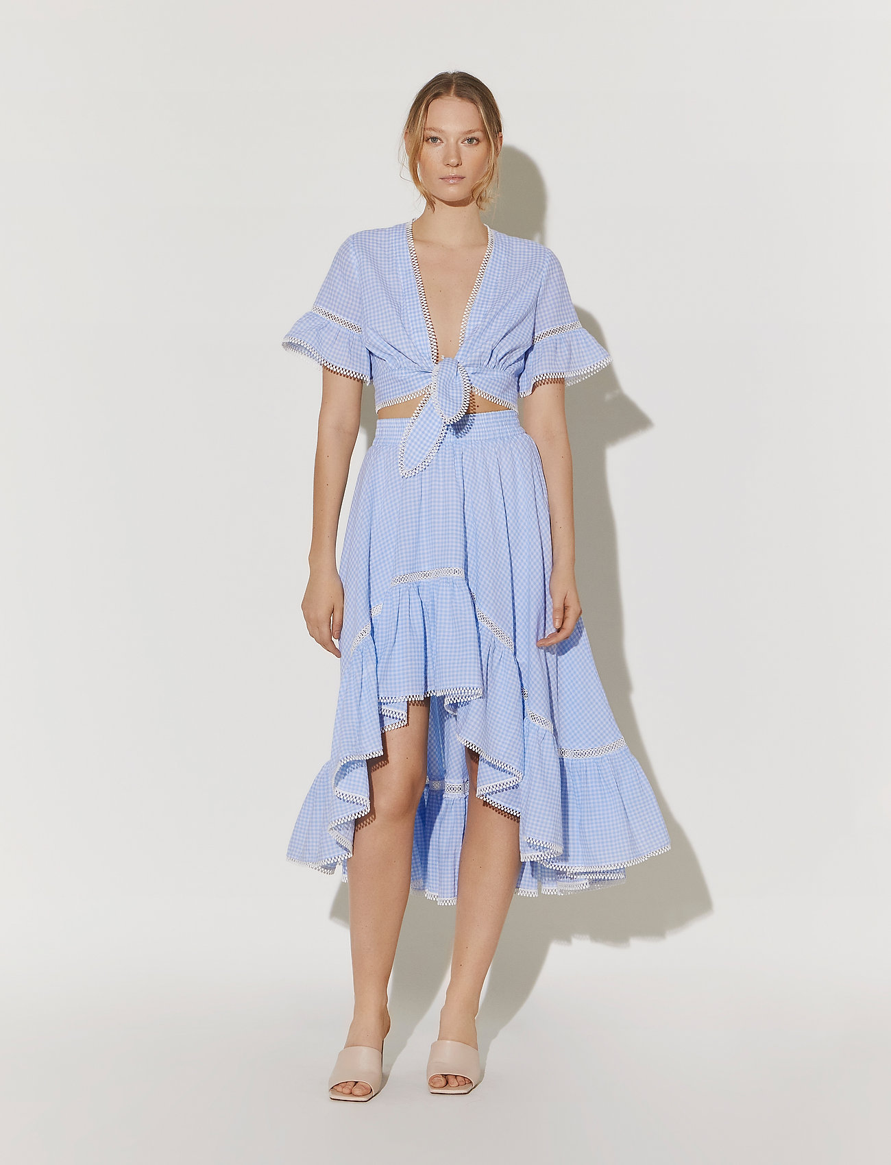 By Malina - Frances top - kortärmade blusar - blue checker - 0
