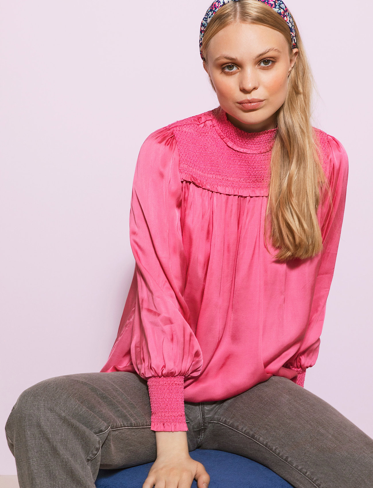 By Malina - Shirley blouse - långärmade blusar - ballet pink - 0
