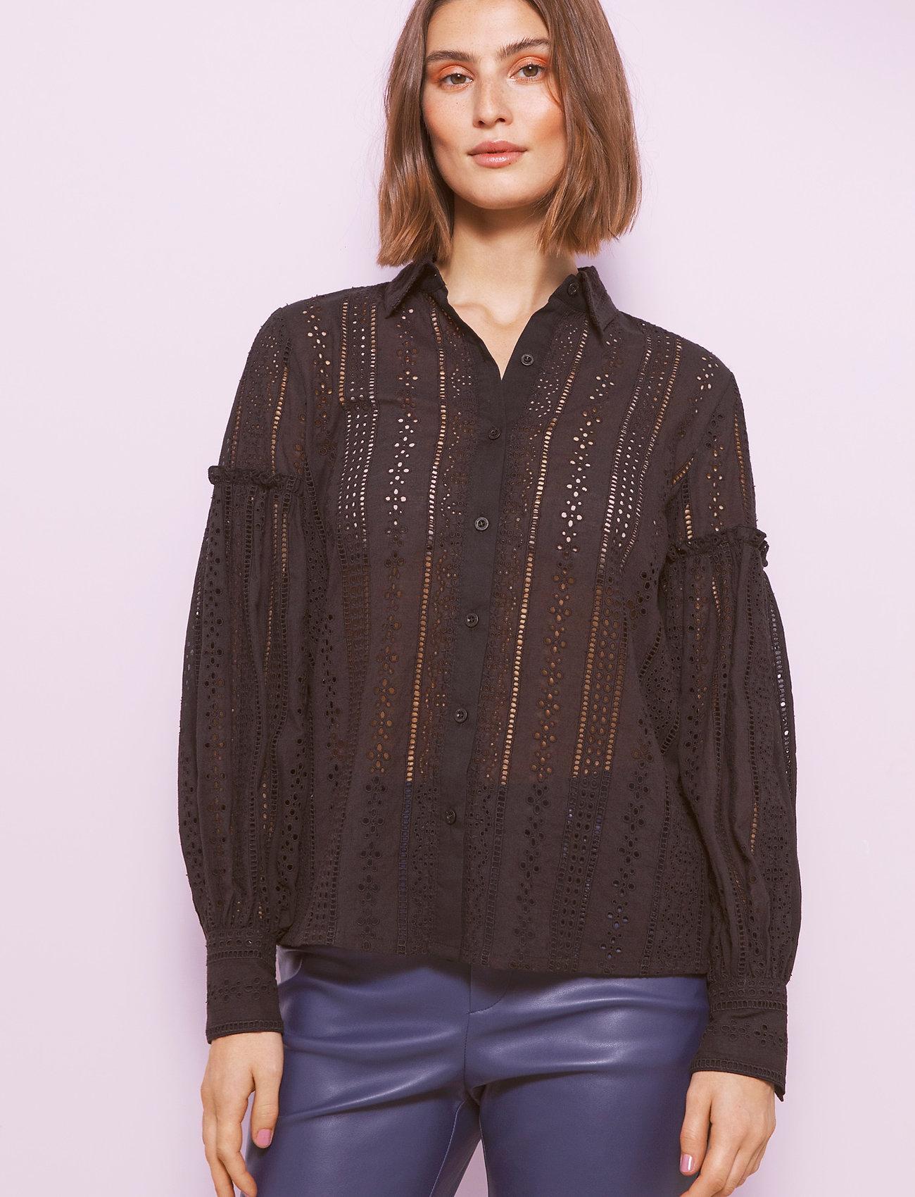 By Malina - Juno blouse - långärmade skjortor - black - 0