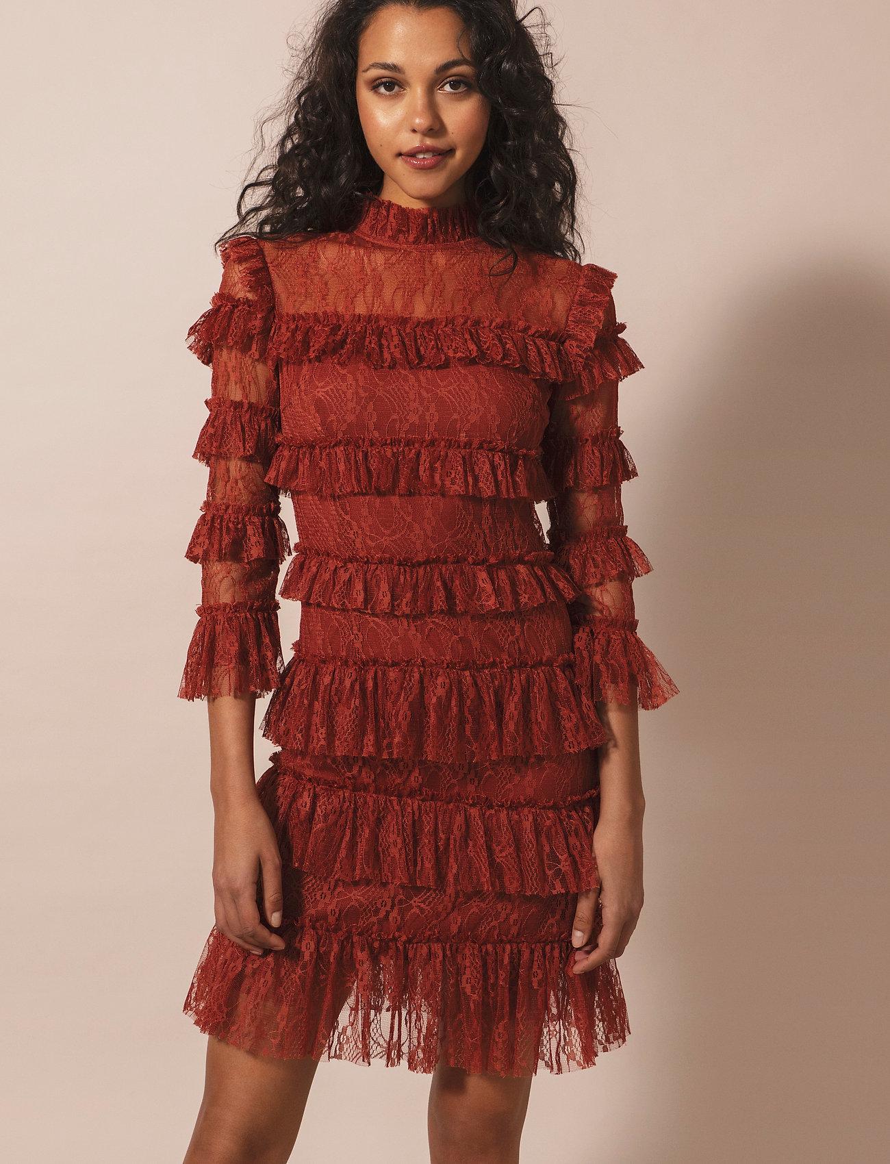 By Malina - Carmine mini dress - cocktailklänningar - burnt henna - 0