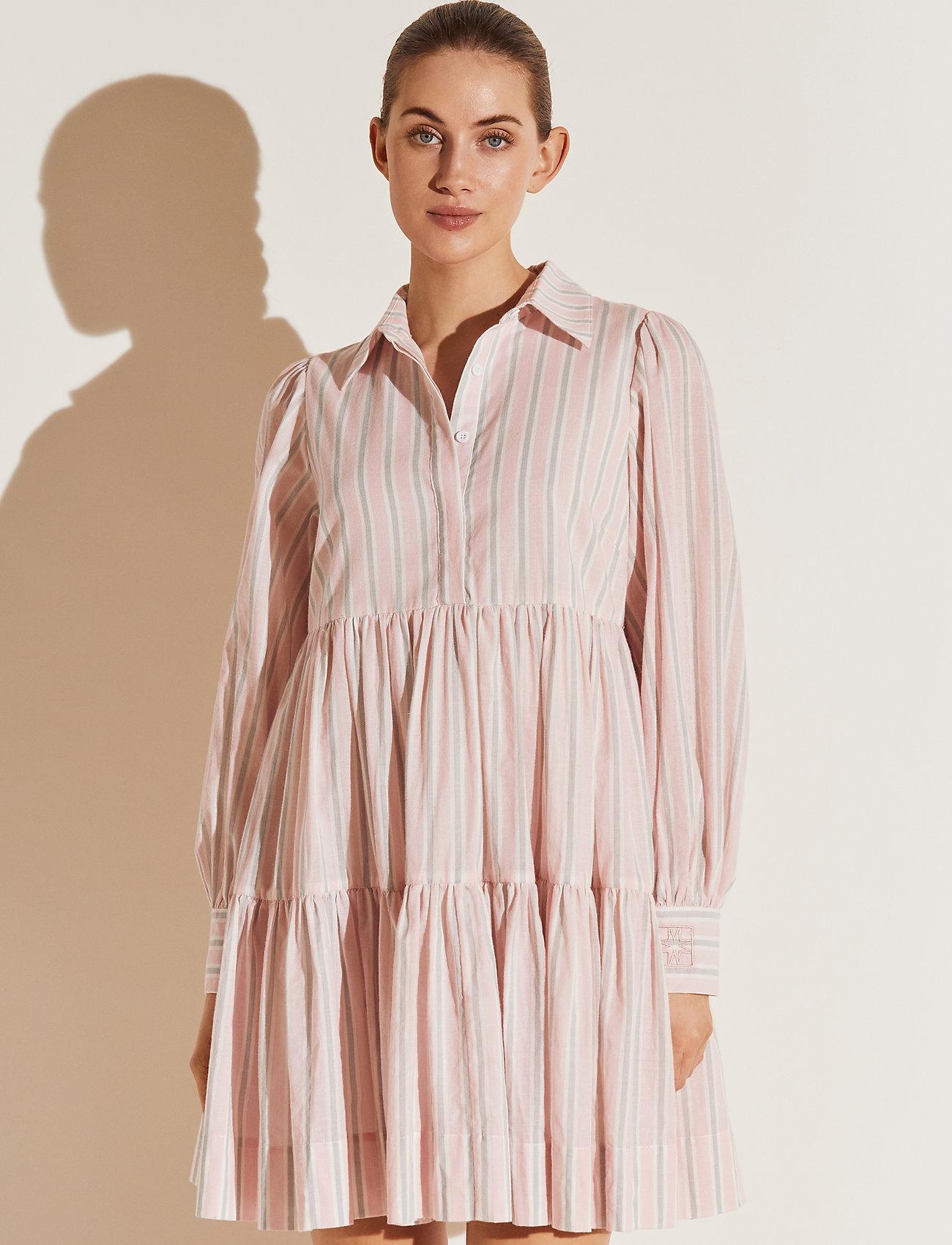 By Malina - Allie shirt dress - sommarklänningar - pale pink stripe - 0