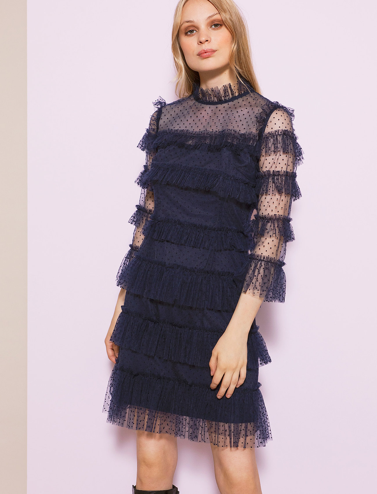 By Malina - Carmine dotted dress - cocktailklänningar - deep blue - 0