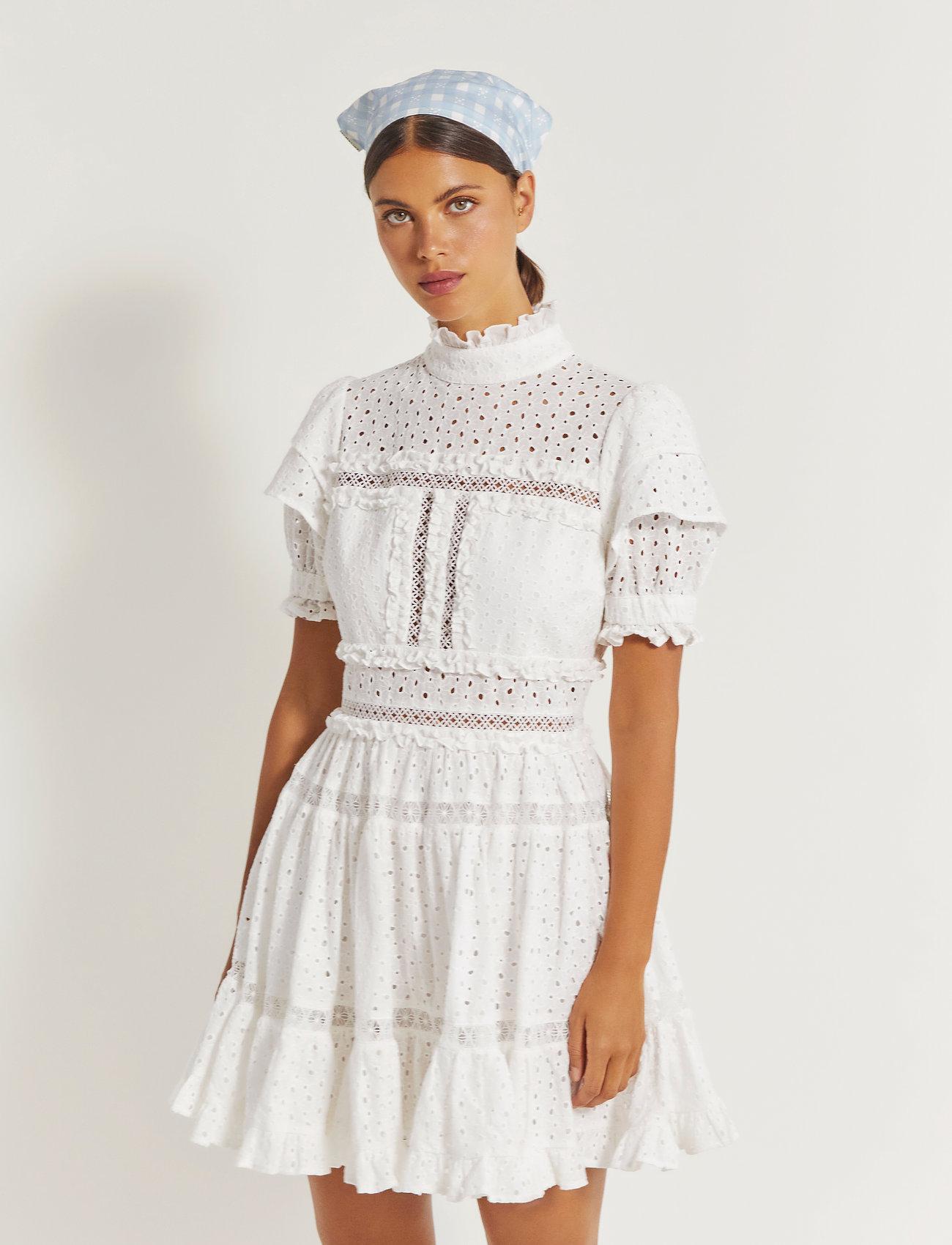 By Malina - Iro mini lace dress - sommerkjoler - white - 0