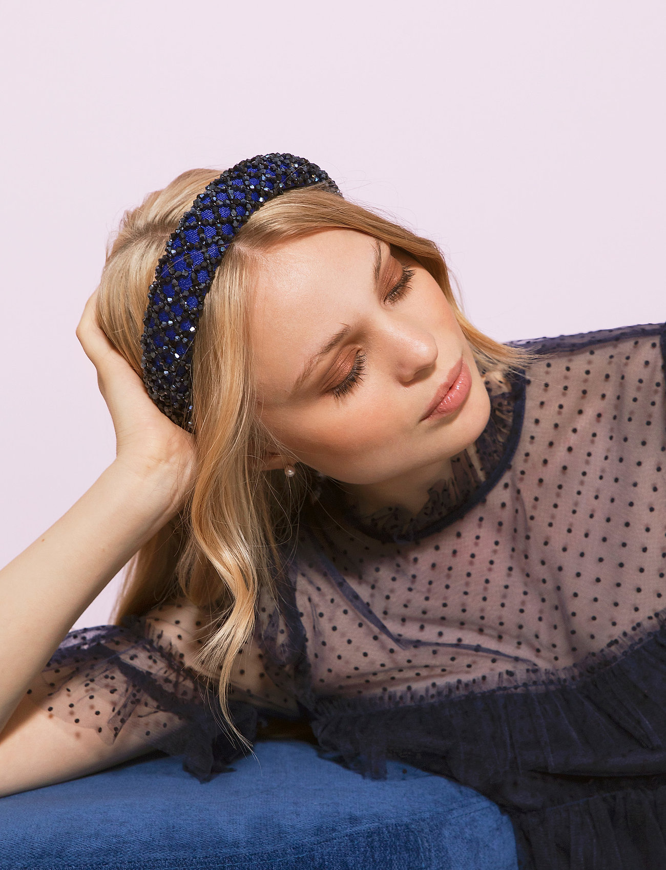 By Malina - Dixie embellished headband - haar accessoires - deep blue - 0