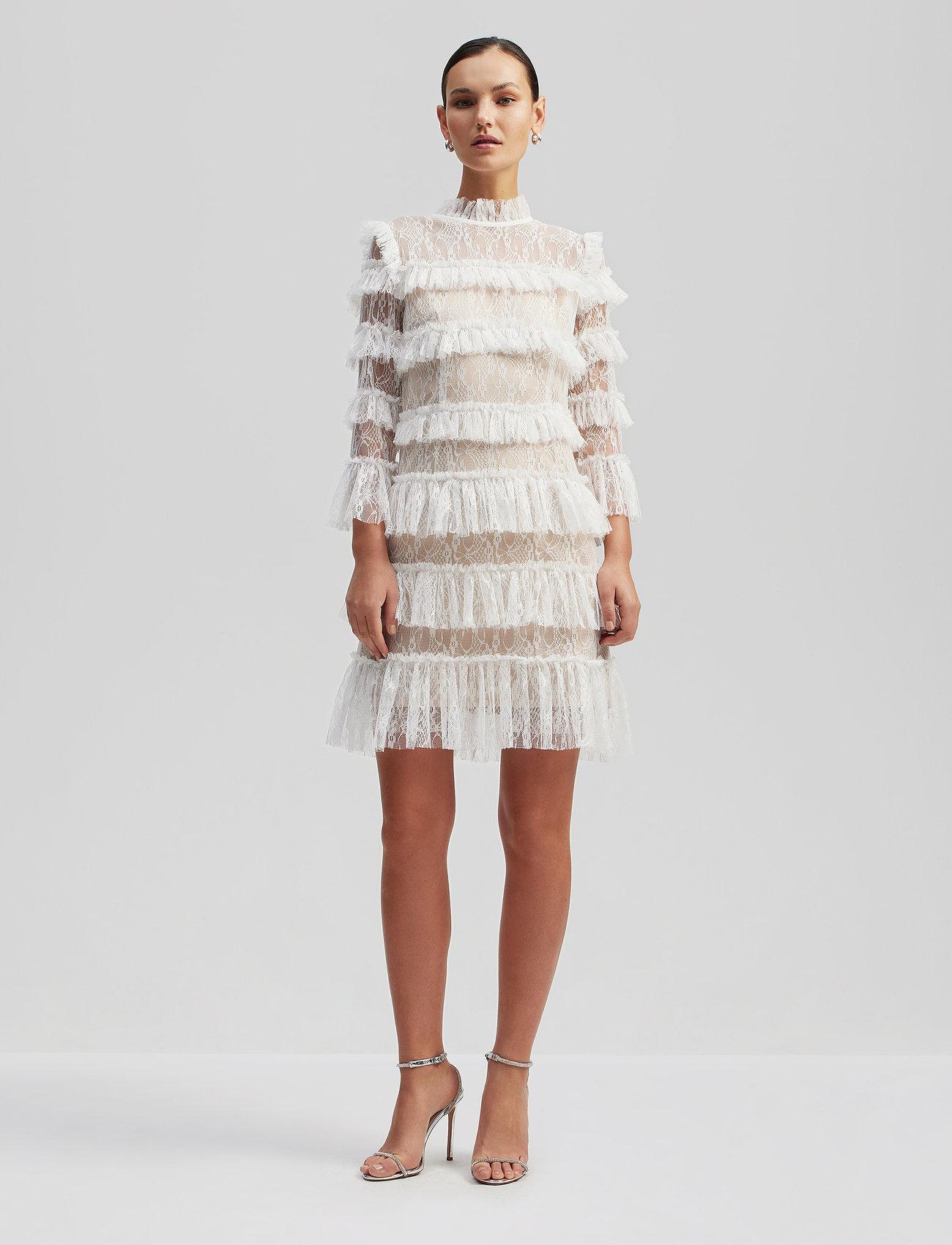 By Malina - Carmine mini dress - cocktailklänningar - cloudy white - 0