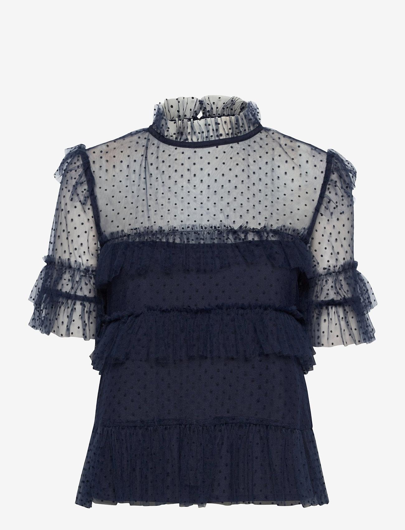 By Malina - Rachel dotted blouse - kortärmade blusar - deep blue - 1