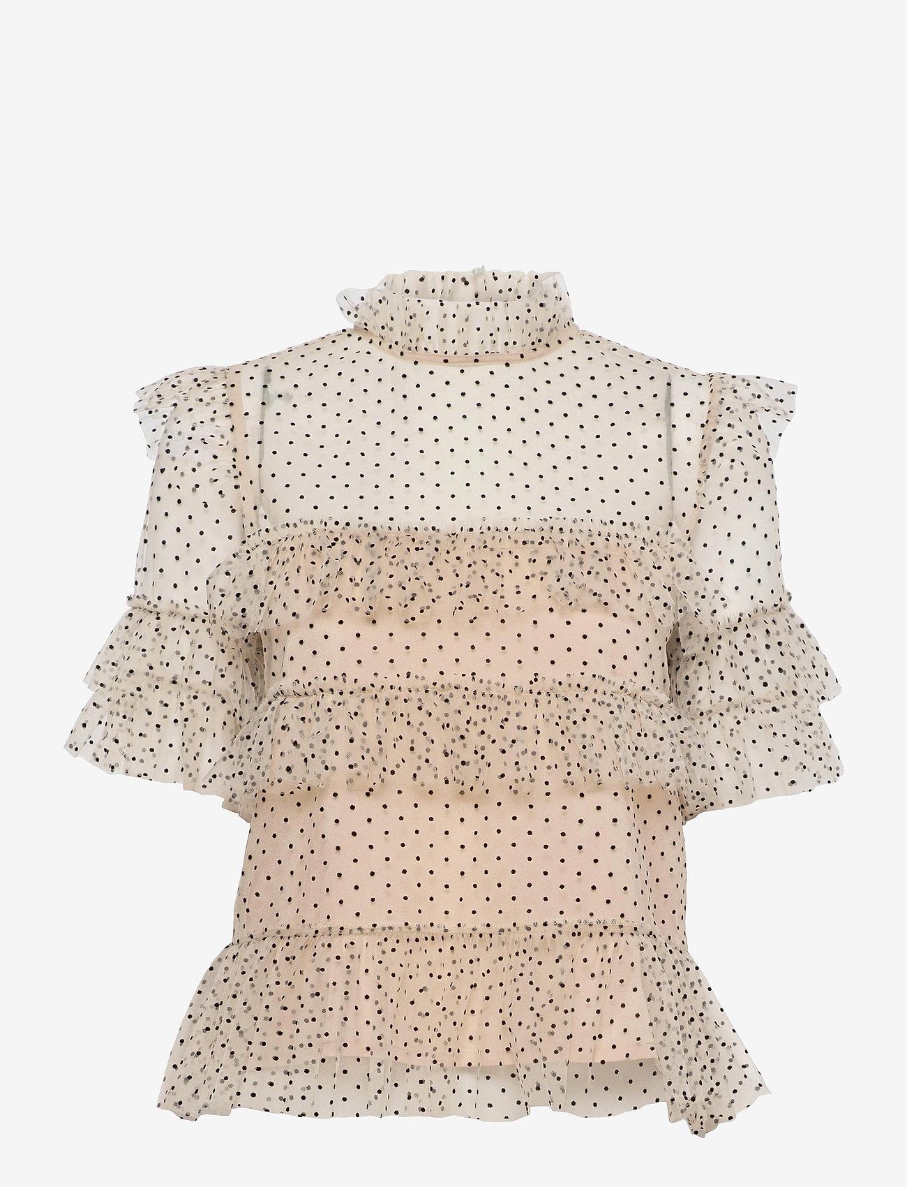 By Malina - Rachel dotted blouse - kortärmade blusar - soft beige - 1
