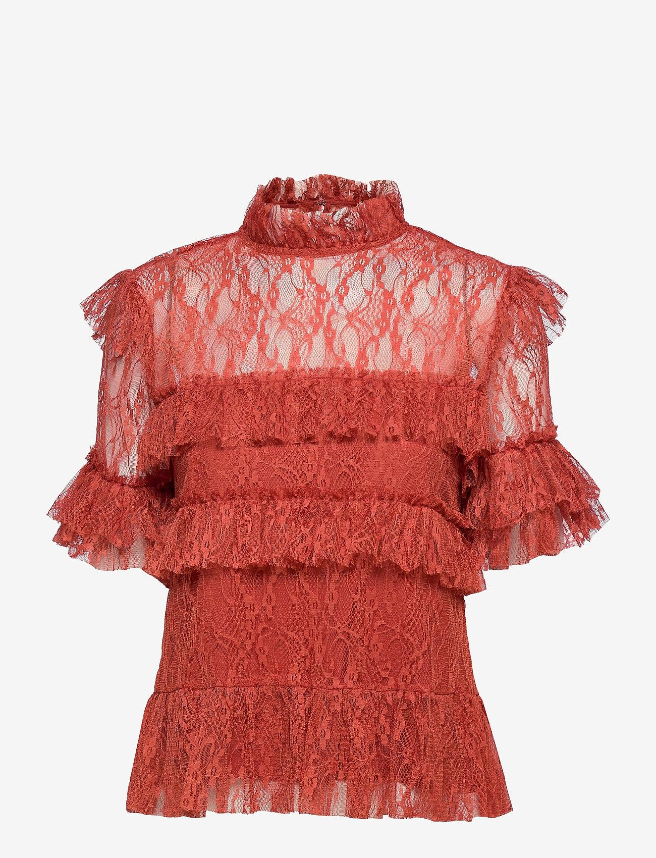 By Malina - Rachel blouse - kortärmade blusar - burnt henna - 1