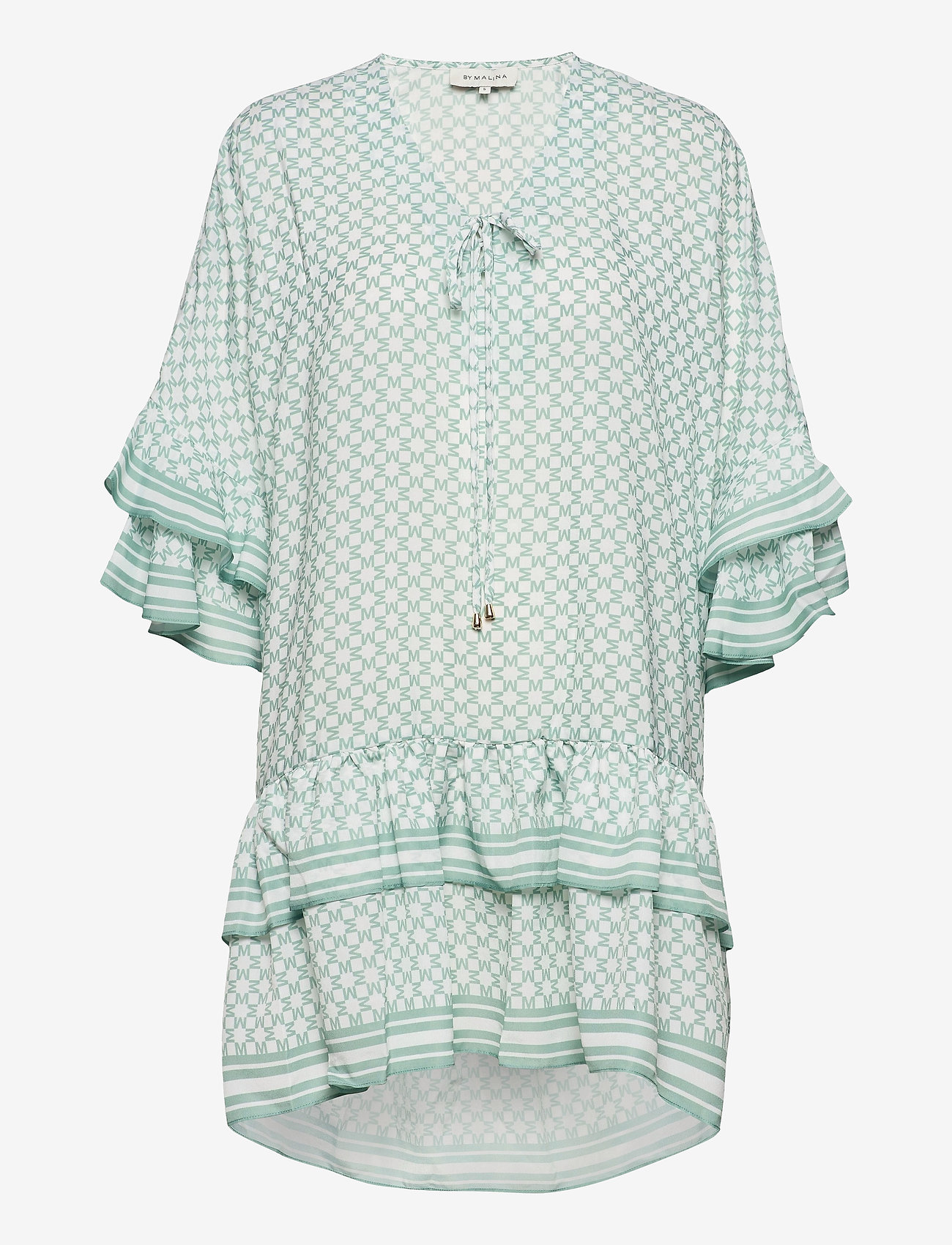 By Malina - Kyla dress - festklänningar - iconic print sage - 1