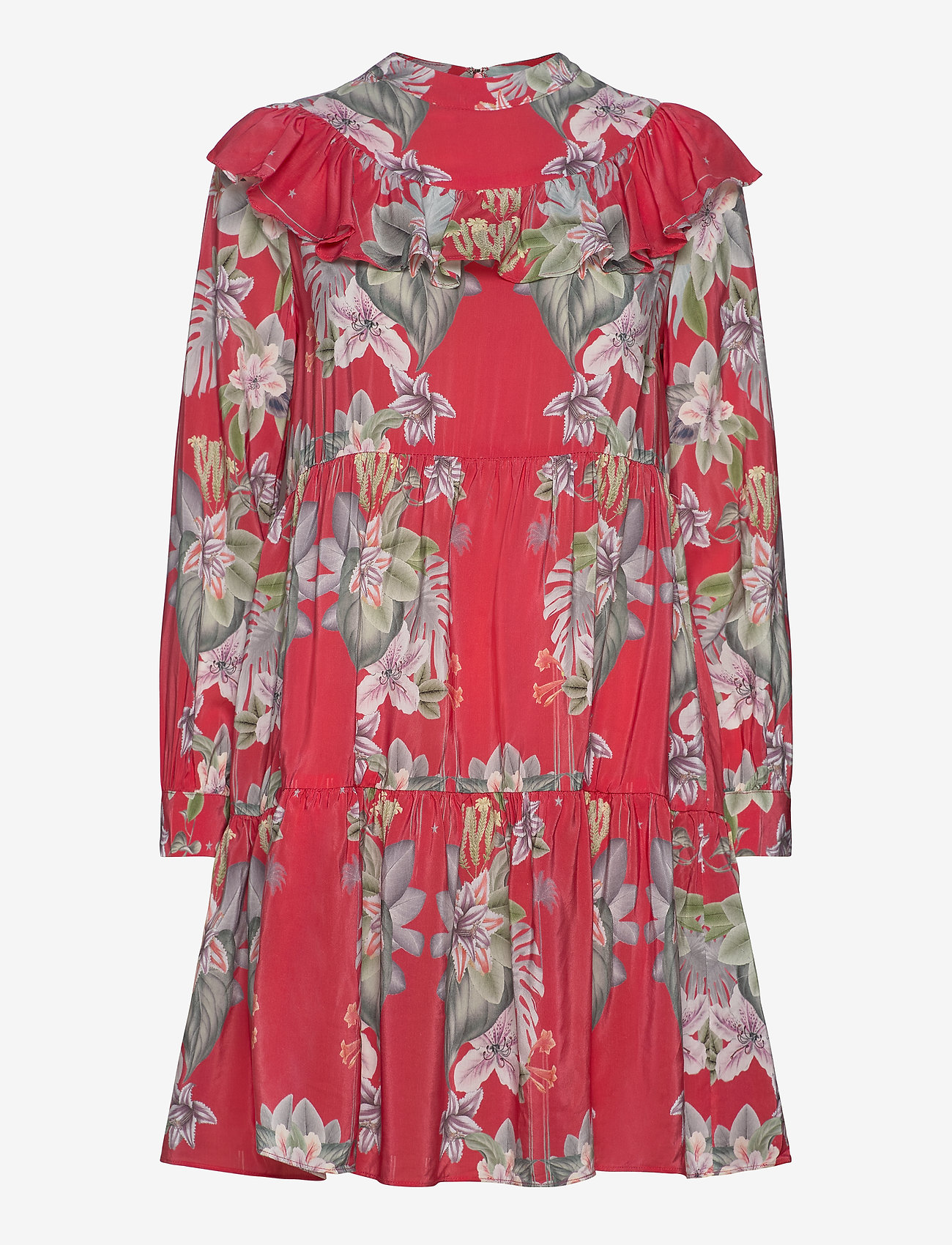 By Malina - Malva dress - midiklänningar - electric jungle pink coral - 0