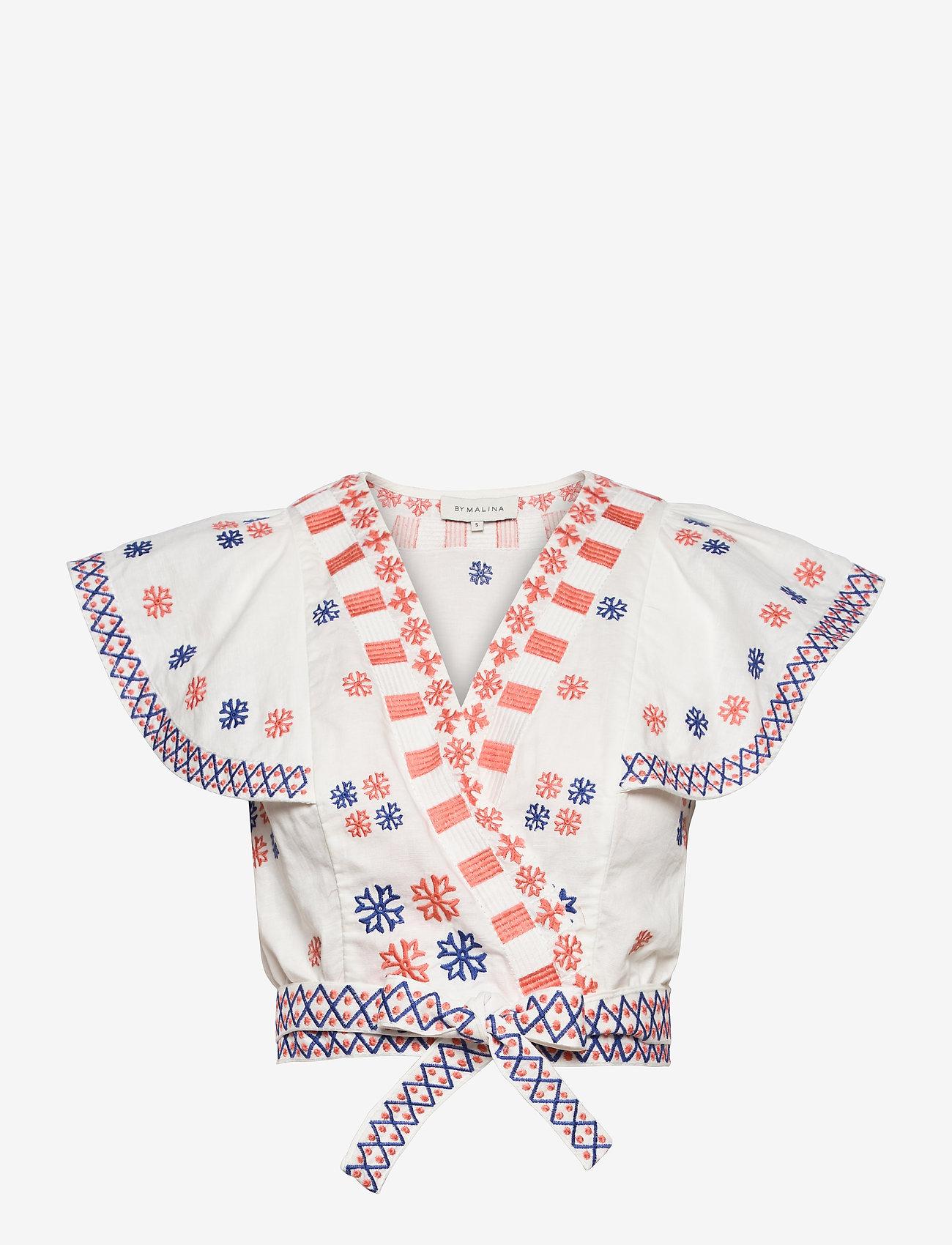 By Malina - Hedda top - kortärmade blusar - white - 1