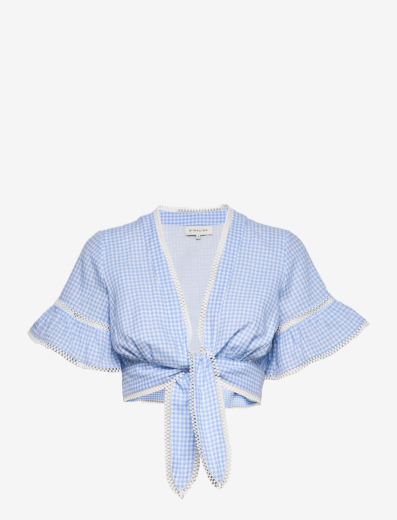 By Malina - Frances top - kortärmade blusar - blue checker - 1