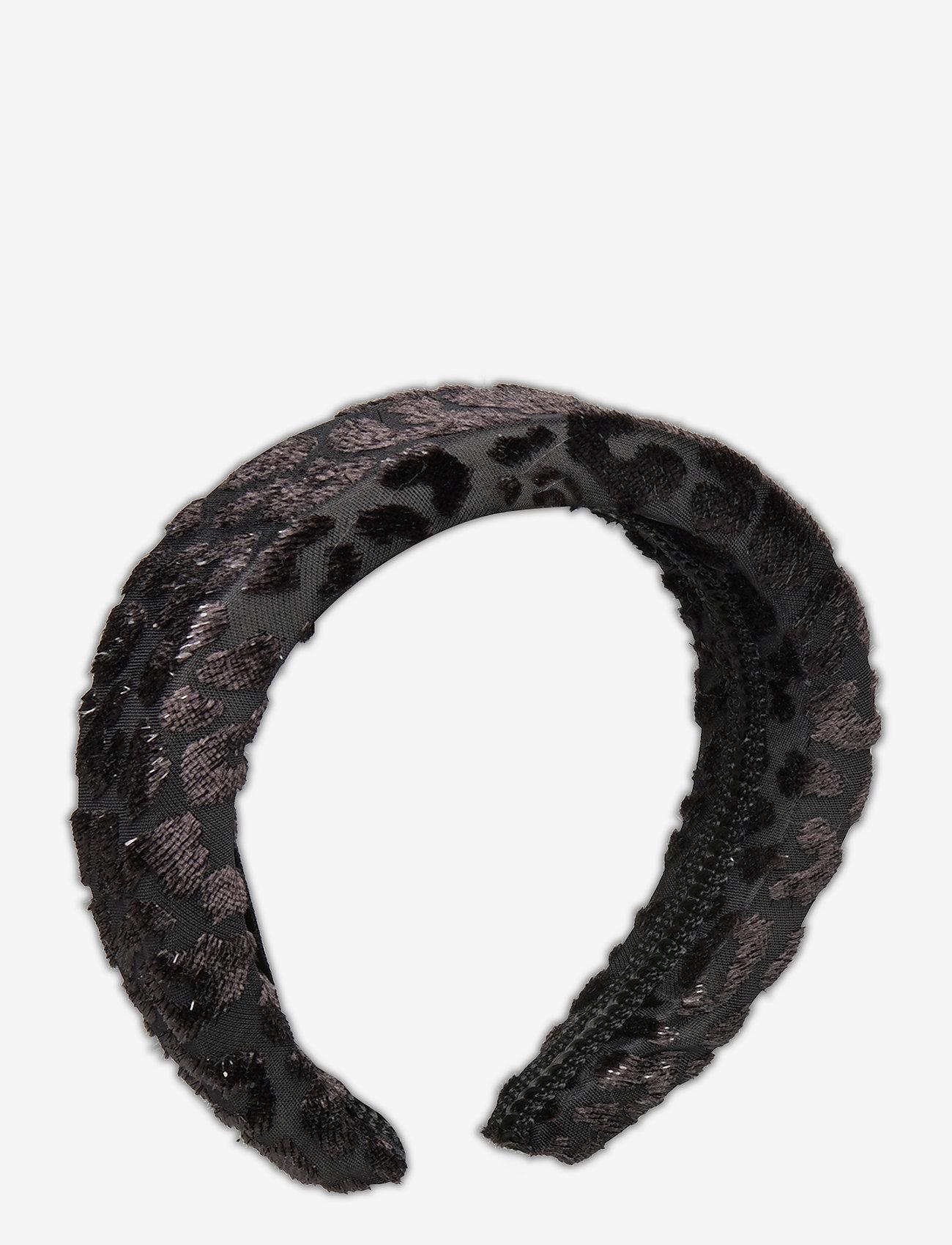 By Malina - Sally velvet headband - hårband - black sparkle - 1